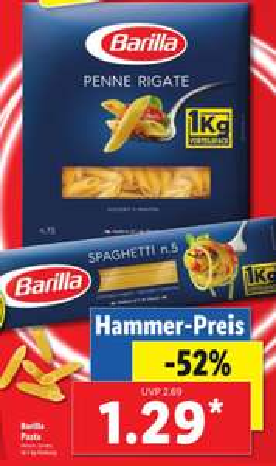 [LIDL] Barilla Pasta verschiedene Sorten 1kg für 1,29 Euro
