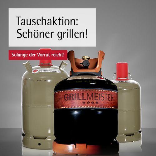Grillmeister 8KG Qualitätsgasflasche für Abgabe einer alten Gasflasche von 5KG oder 11KG