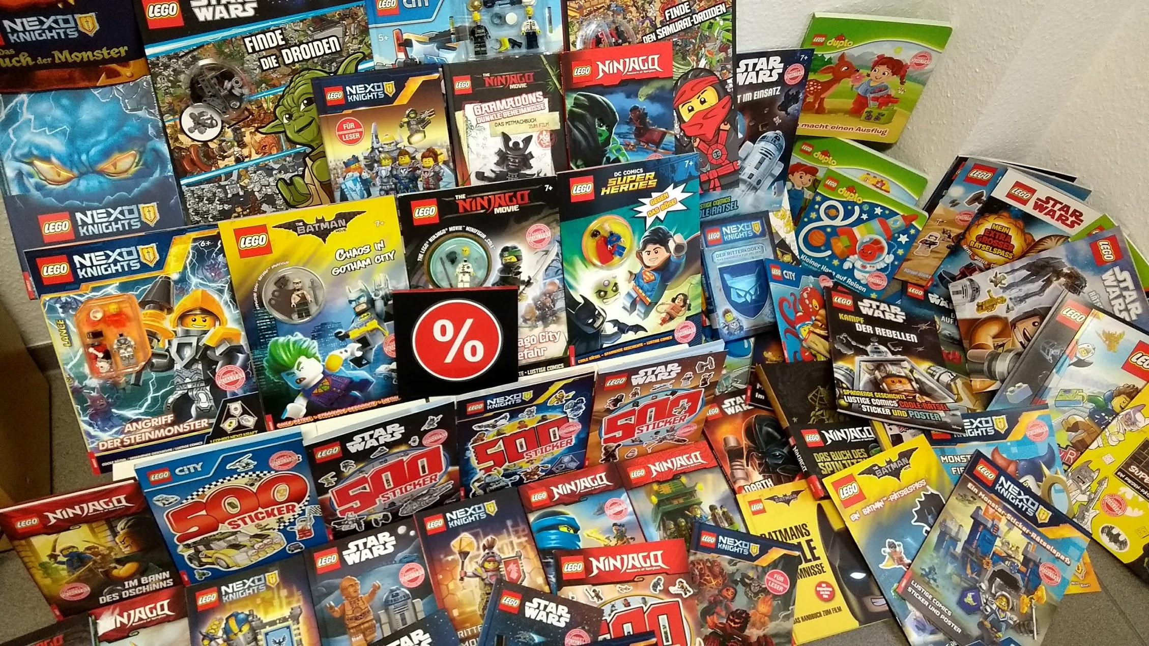 Lego-Bücher-Restposten ab 1,99€: Über 100 Titel versandkostenfrei & teilweise inkl. Minifiguren, z.B. Lego Star Wars (Mängelexemplare)