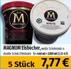5x Magnum Raspberry oder Magnum white (440ml Becher) - 1,55€ pro Packung [lokal]