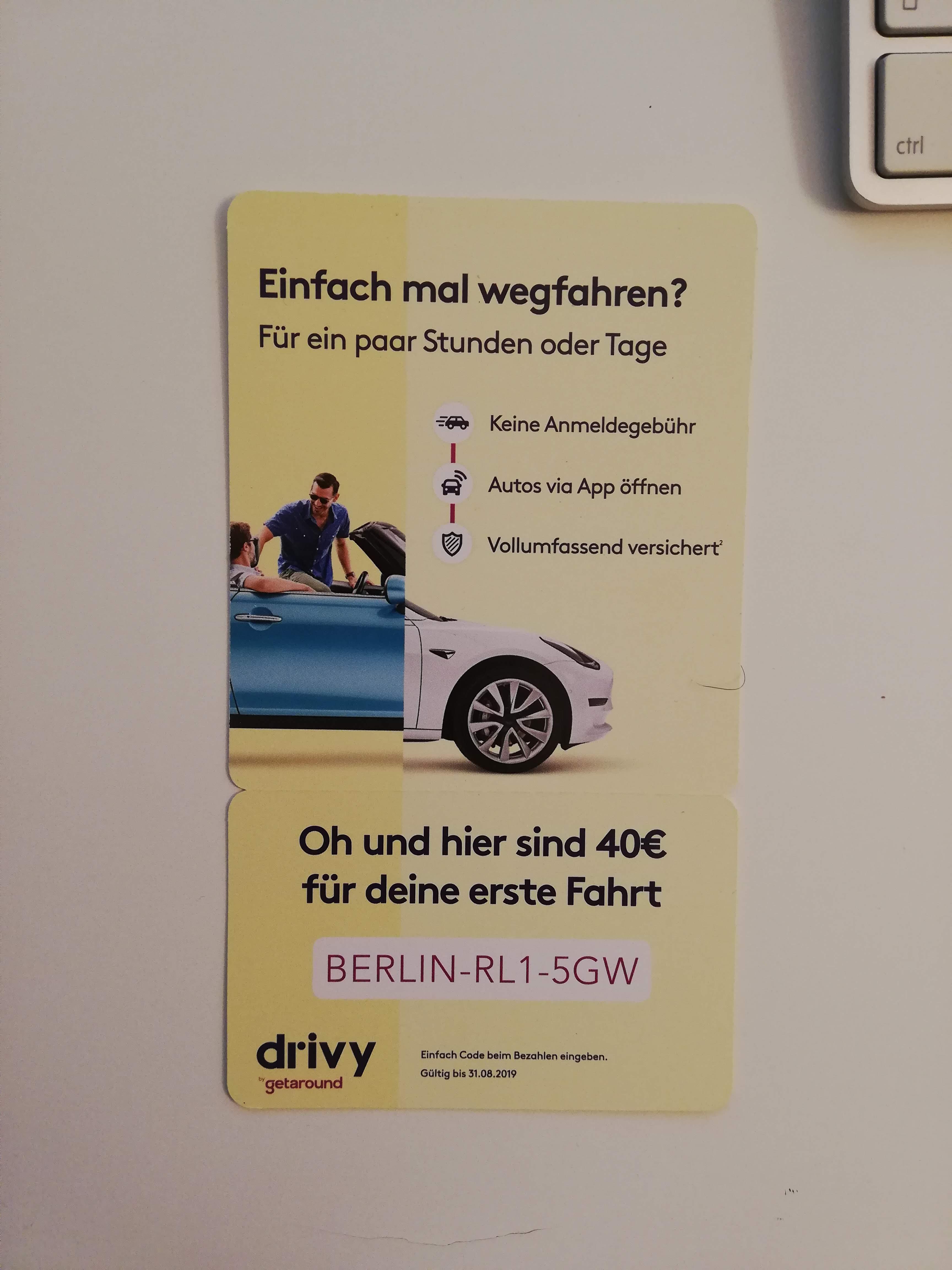 40 € RABATT AUF DIE ERSTE FAHRT MIT DRIVY (Privates Carsharing) - Lokal Berlin