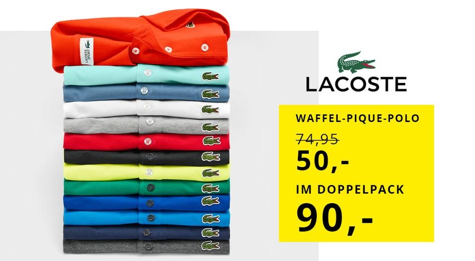 [Hirmer] Lacoste Poloshirt in Waffel-Pique Struktur im Doppelpack für 90 EUR