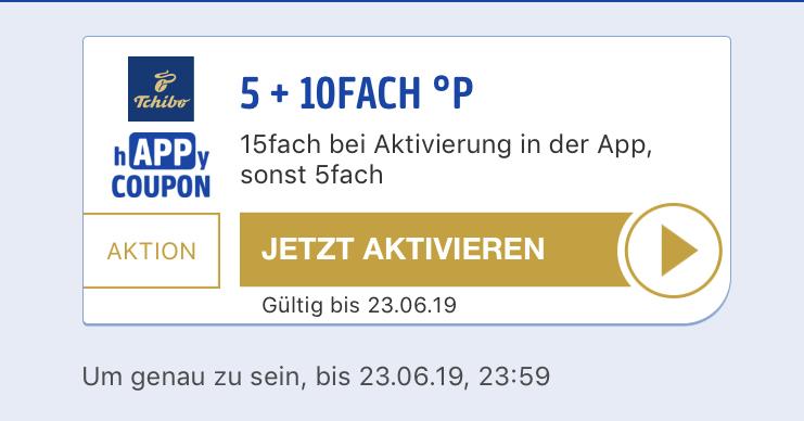 (Payback) Tchibo 5+10 Fach Punkte 7,5% App e-Coupon