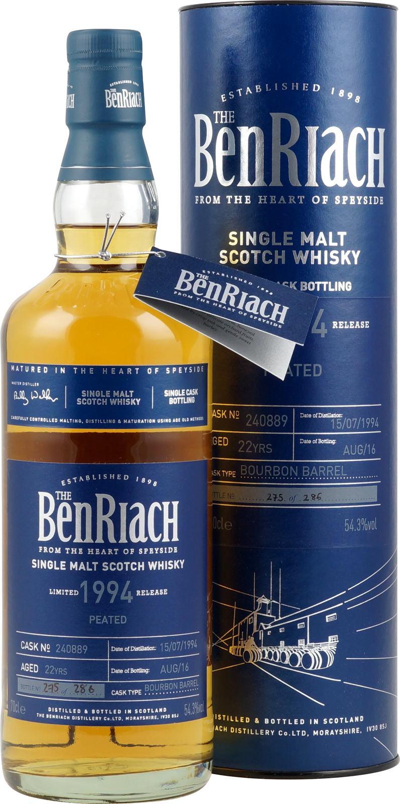 Benriach 1994 22 Jahre Cask No.240889 Whisky