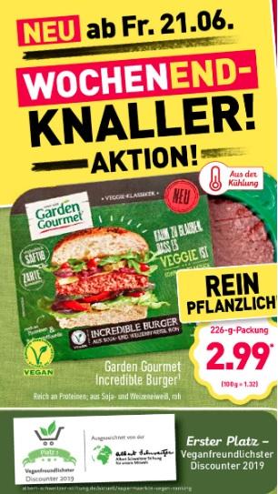 Garden Gourmet Incredible Burger Patties 2x 113g ab Freitag, 21.06.19 [Aldi Nord]