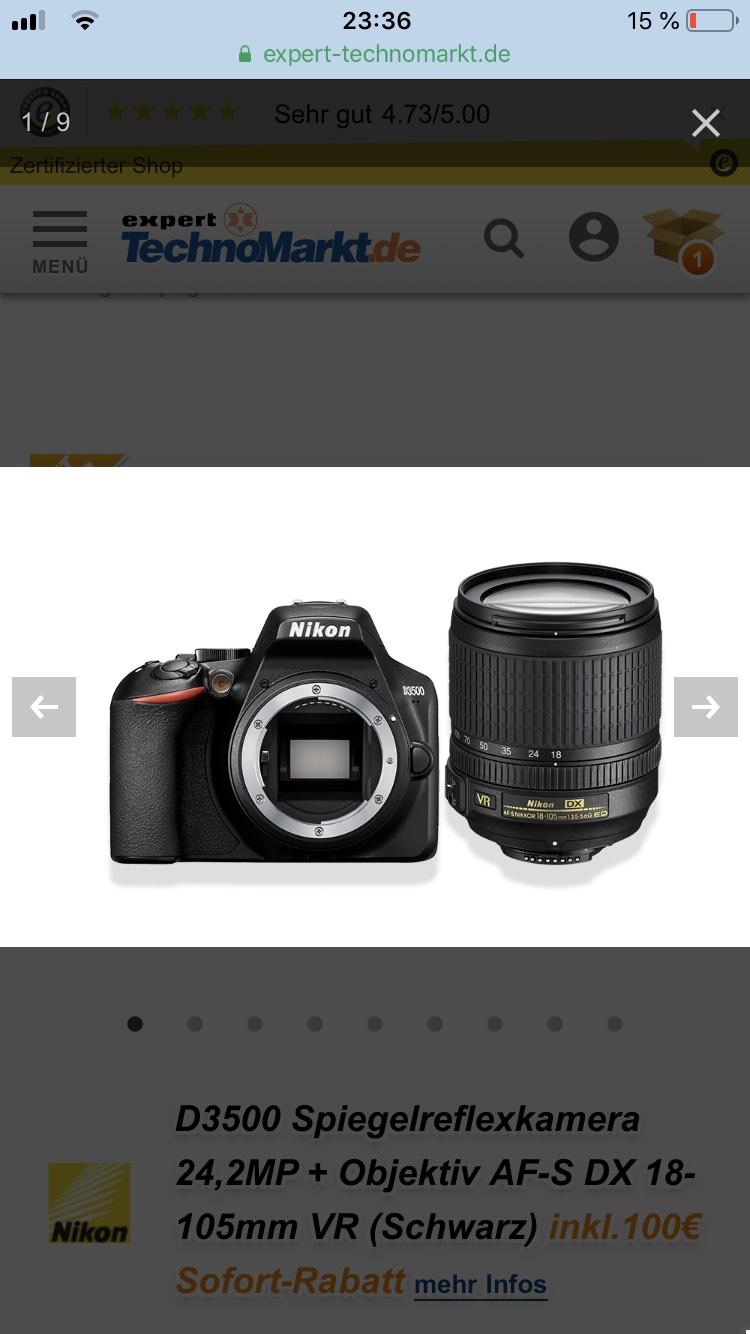 [Expert/Technomarkt] Nikon D3500 Spiegelreflexkamera 24,2MP + Objektiv AF-S DX 18-105mm VR (Schwarz)