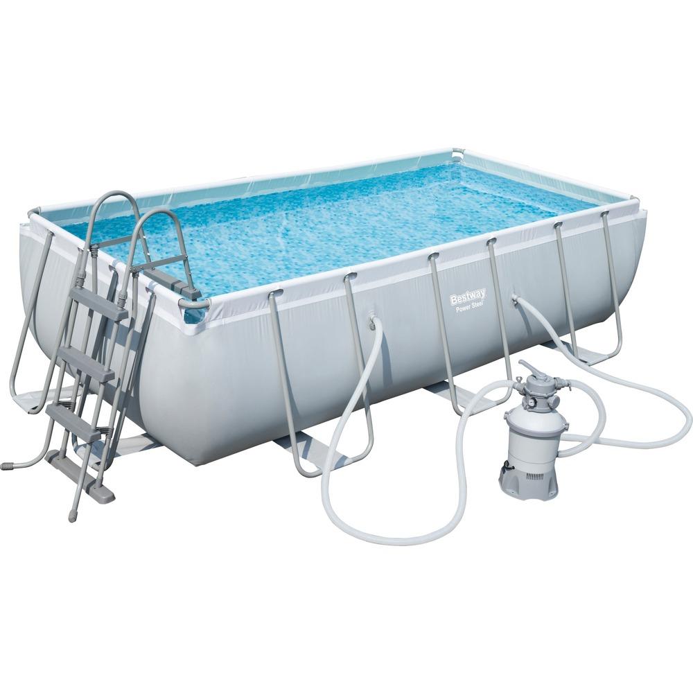 Bestway Power Steel Rectangular Frame Pool Set, mit Sandfilter, Sicherheitsleiter, 404cm x 201cm x 100cm