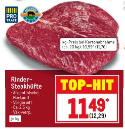 [Metro] Rinder-Steakhüfte, Argentinische Herkunft, Vorgereift, ca. 2,5 kg, Vak.-verp., je kg