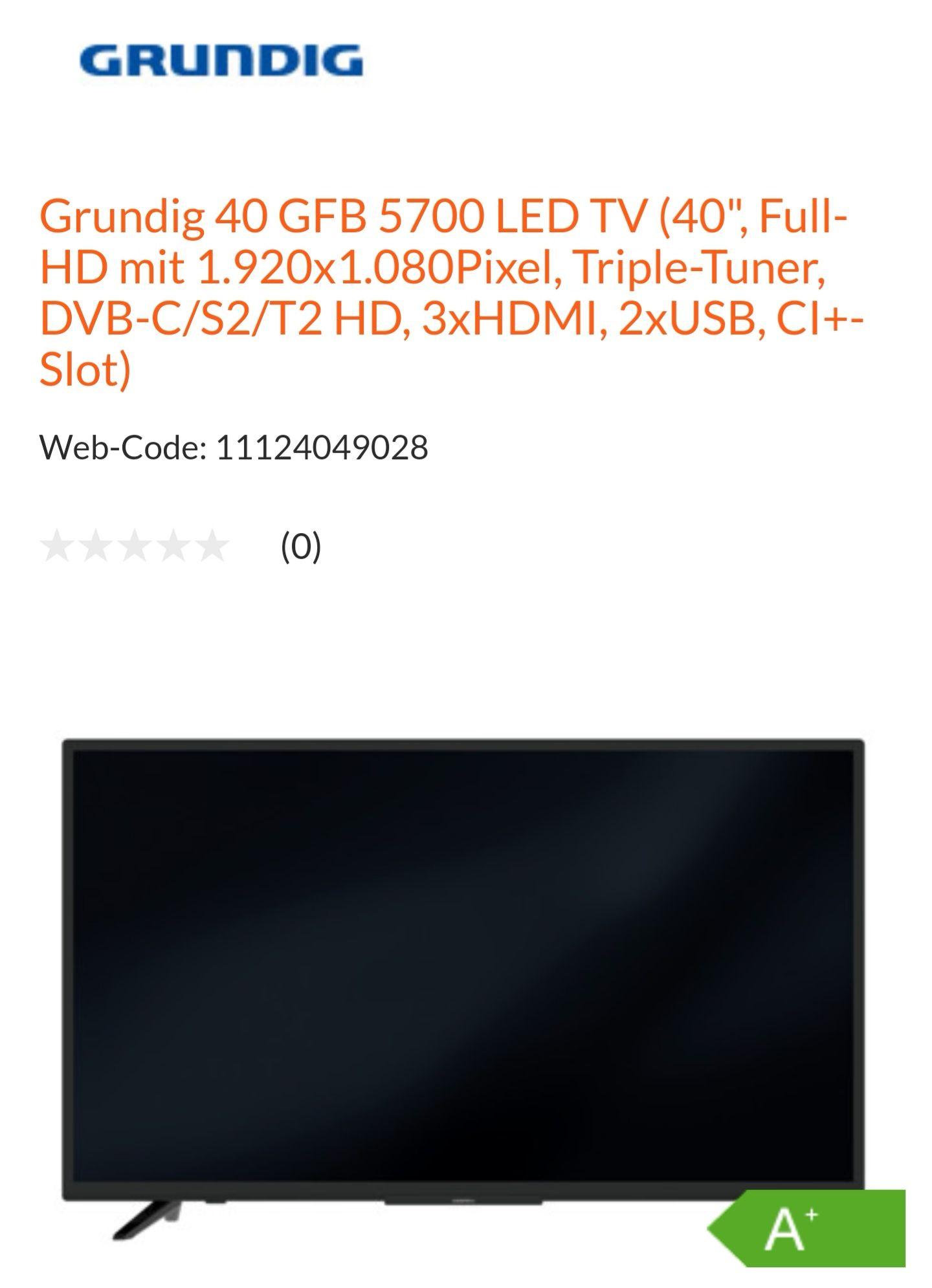 "Grundig 40 GFB 5700 LED TV (40"", Full-HD mit 1.920x1.080Pixel, Triple-Tuner, DVB-C/S2/T2 HD, 3xHDMI, 2xUSB, CI+-Slot)"