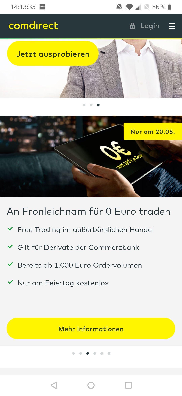 Comdirect/Commerzbank ab 1000 € heute ohne Orderentgelt handeln Zertifikate, Optionsscheine und Aktienanleihen