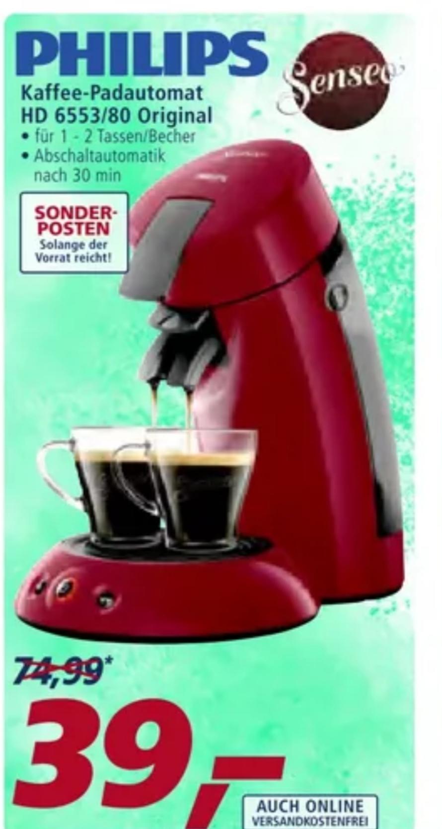 [REAL] Philips Senseo Original HD6553/80 Kaffeepadmaschine für 39€ Versandkostenfrei
