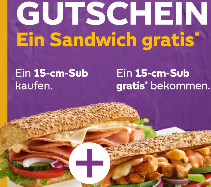 [Subway] Ein 15-cm-Sub kaufen und Ein 15-cm-Sub gratis* bekommen