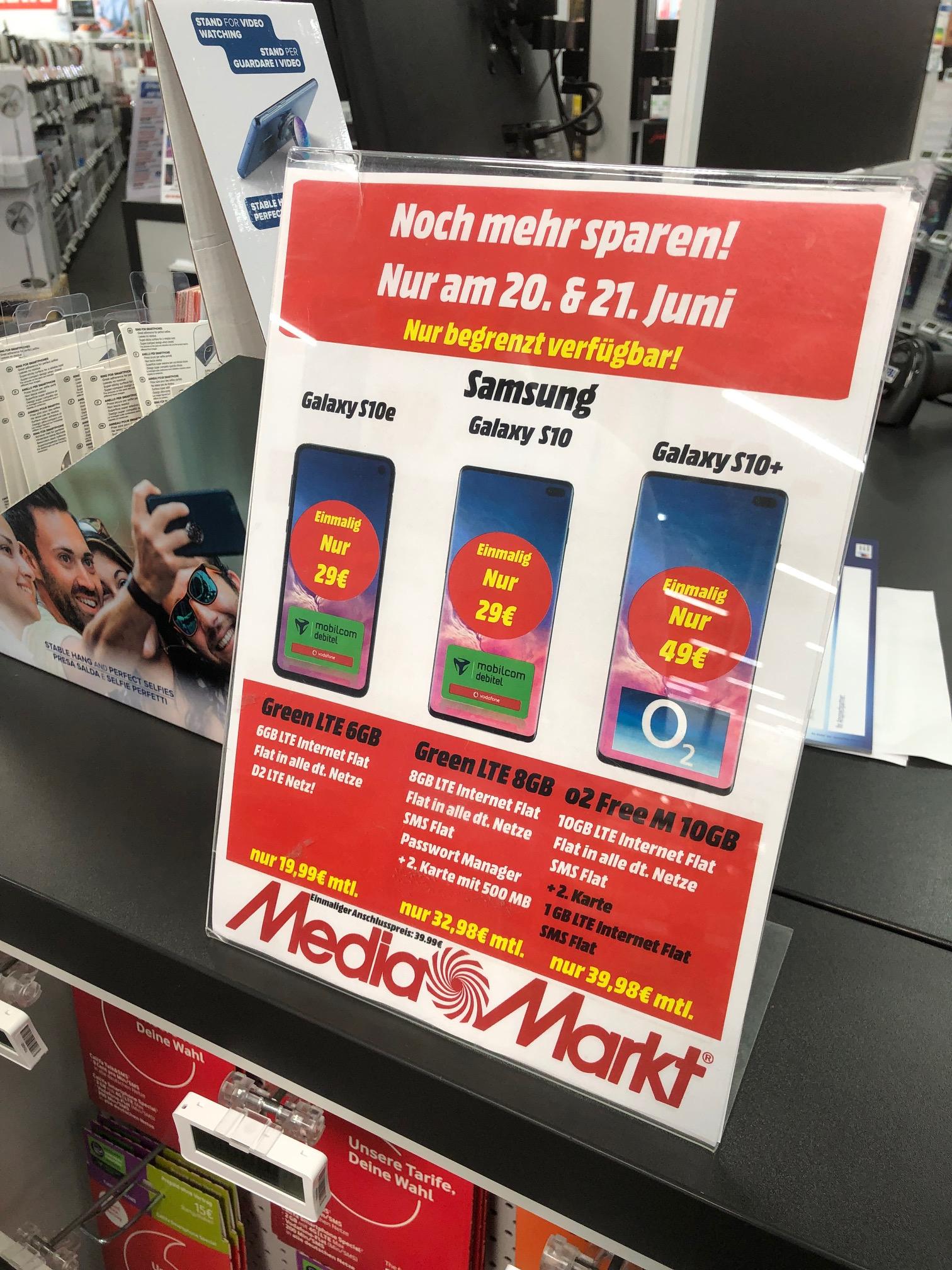 *Lokal MM-Hamburg (Langenhorn/Hummelsbüttel) Galaxy S10e für 19,99€ mtl. 6GB LTE + Allnet Flat im Vodafone Netz - 31,98 S10 - 39,98 s10+