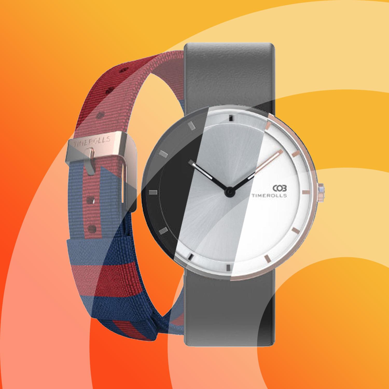 TIMEROLLS COB | 7mm Gehäuse aus Edelstahl - Leder- & Nylonarmband - 30m wasserdicht - Citizen-Quartzwerk | Schwarz/Silber/Gold