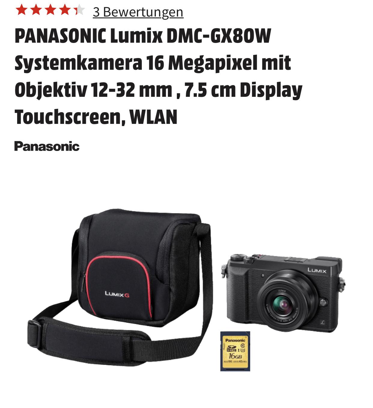 PANASONIC Lumix DMC-GX80 Systemkamera GX80 MFT 16 Megapixel mit Objektiv 12-32 mm inkl. Tasche und SD-Karte