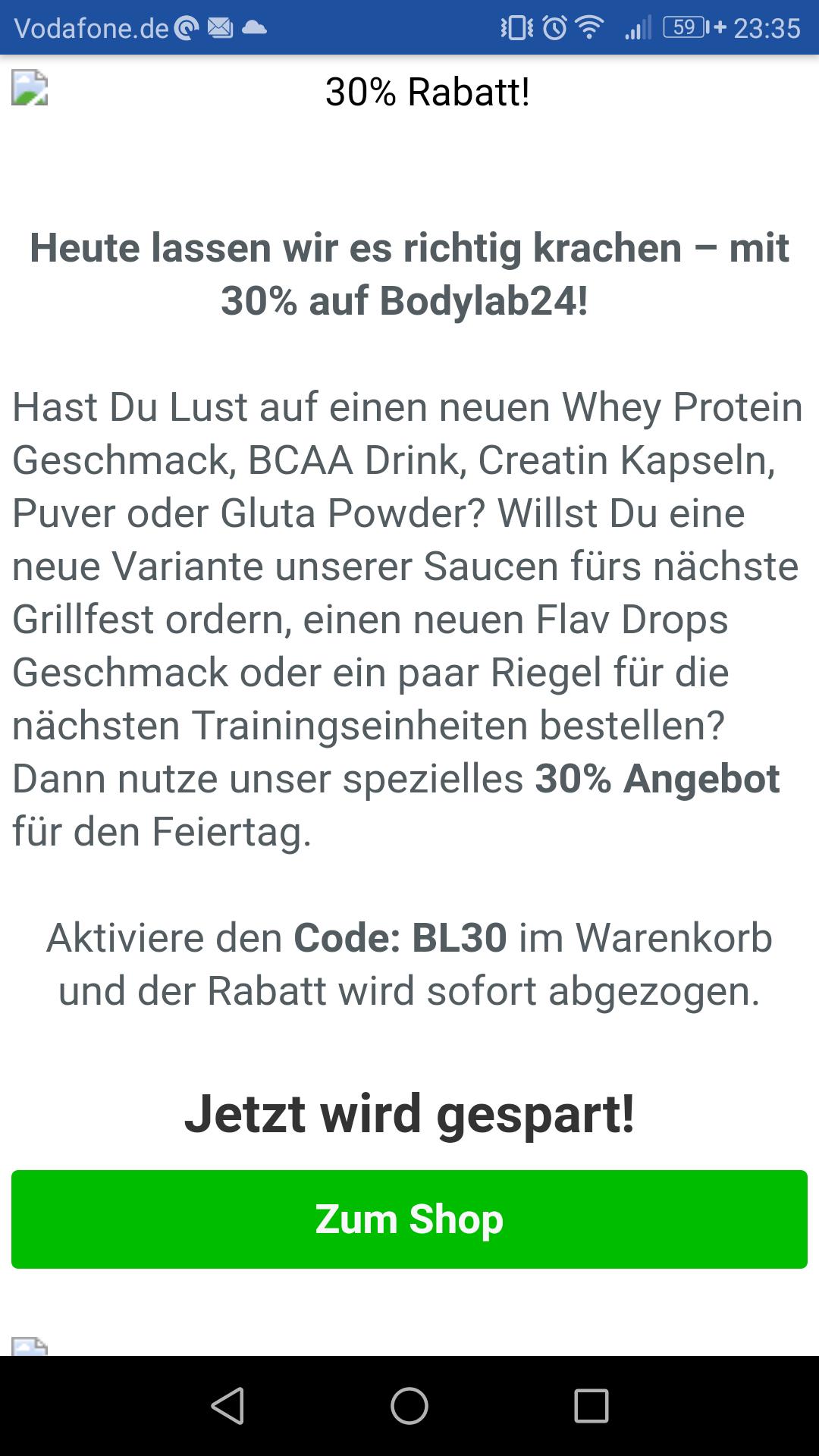 30% Rabatt - Bodylab24 Proteinshop