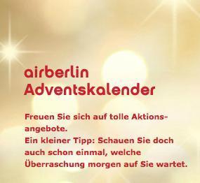 Air Berlin Adventskalender 2012 - jeden Tag neue Flugangebote