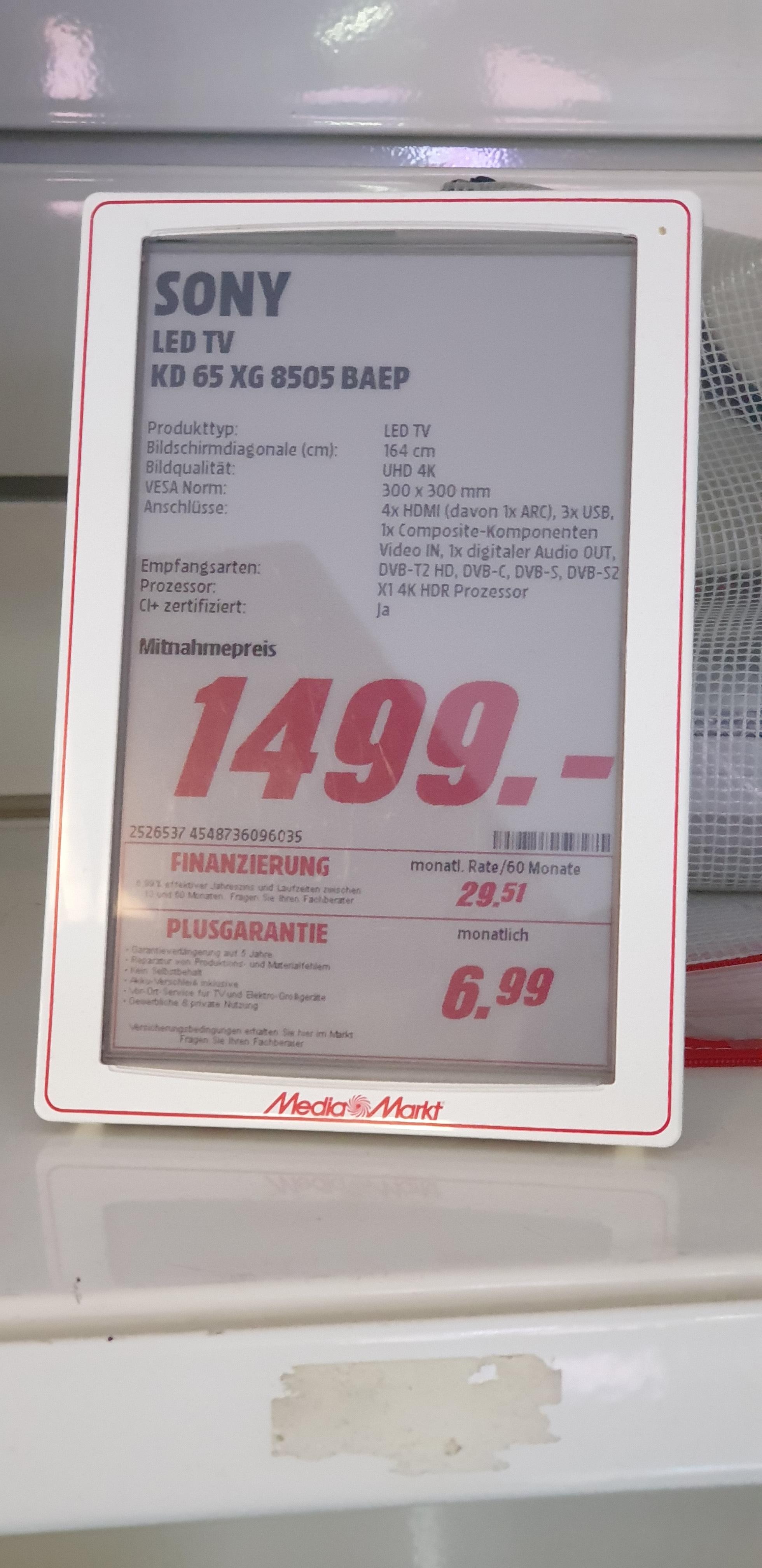 (Lokal MM Limburg) Sony 65 XG 8505 für 1260 € - 65 NU 8009  für 1000 €