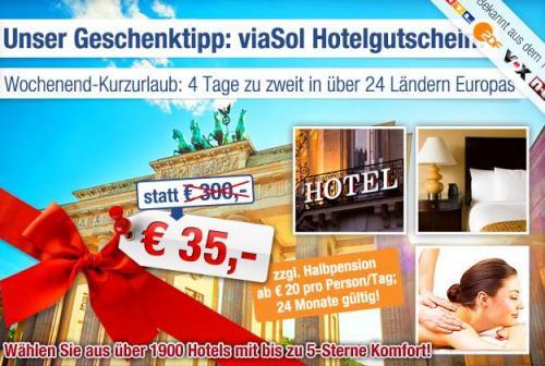 viaSol-Hotelgutschein: 3 Nächte für 2 Personen in über 1900 Hotels in 24 europäischen Ländern