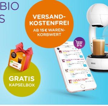 Nescafe Dolce Gusto Kapseln ab 15€ versandkostenfrei + eine Pck. Bio Colombo Lungo kostenlos.
