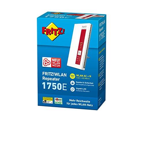 AVM FRITZ!WLAN Repeater 1750E (Dual-WLAN AC + N bis zu 1.300 MBit/s 5 GHz + 450MBit/s 2,4 GHz), Rot/Weiß