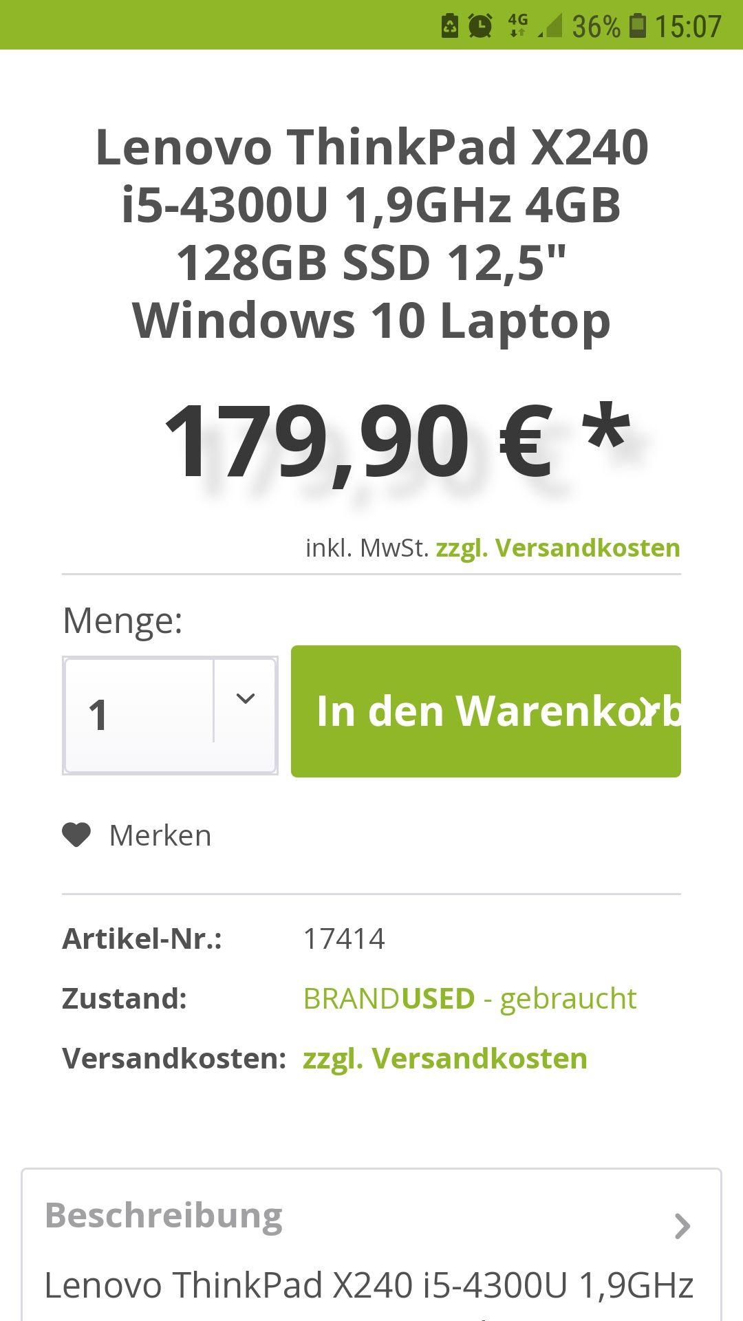 Lenovo ThinkPad X240 zum Wochenende für 179,00 Euro - gebraucht