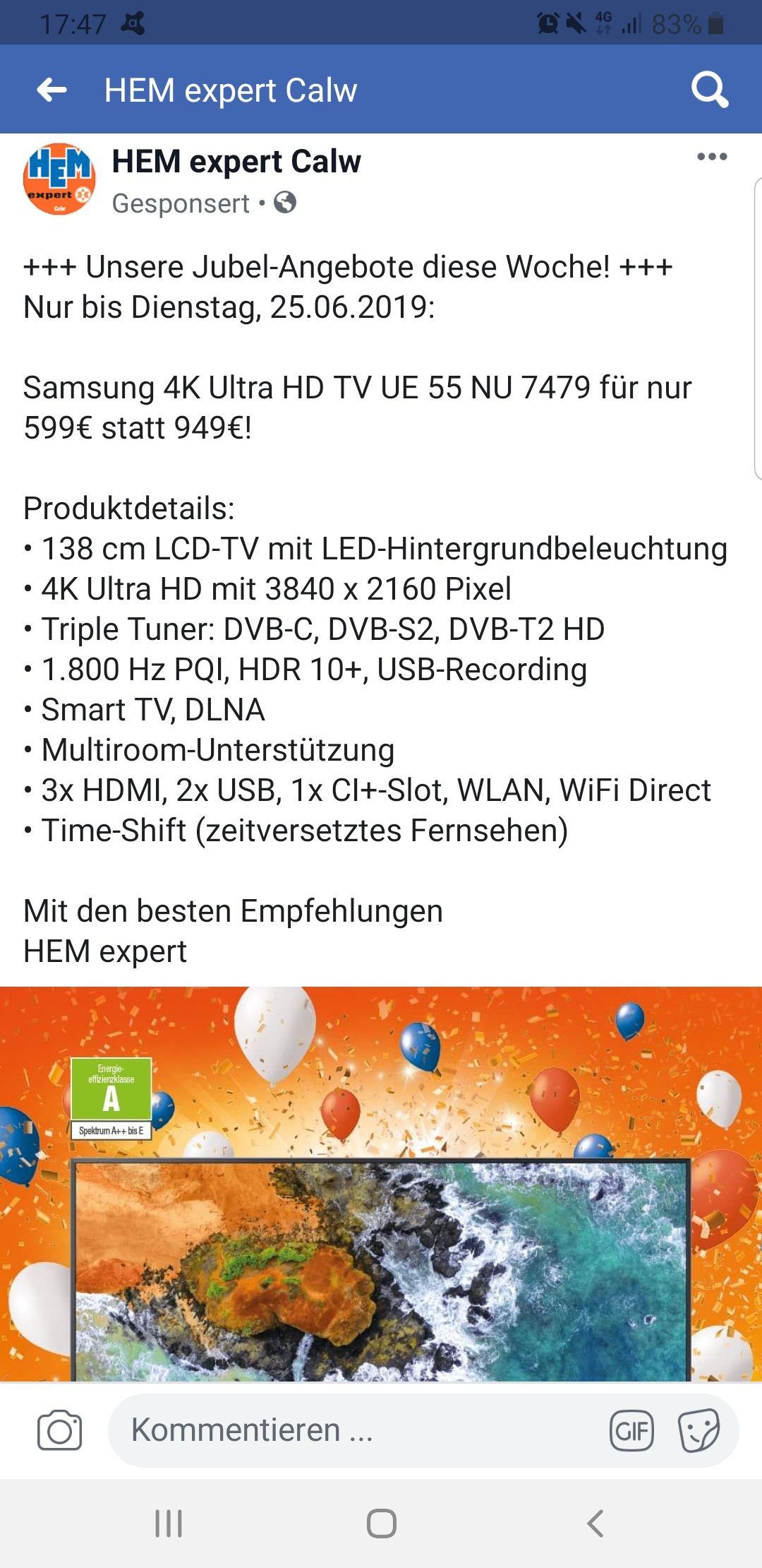 [Lokal] Calw - Samsung NU7479 55 Zoll