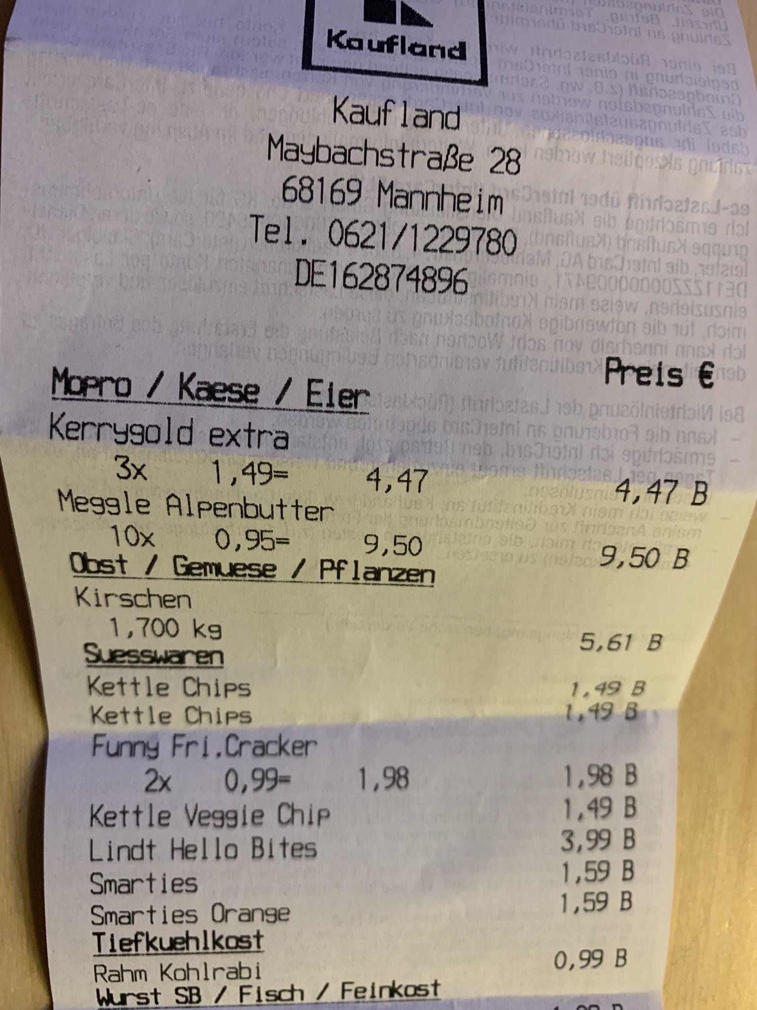 [Lokal Kaufland Mannheim] Meggle Süssrahmbutter 250g für 0,95 Cent, Kirsche für 3,33Euro/KG
