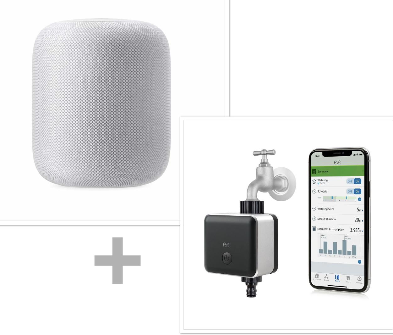 Apple HomePod + Elgato Eve Aqua smartes Bewässerungs-System (94€) für zusammen 309€ inkl. Versandkosten