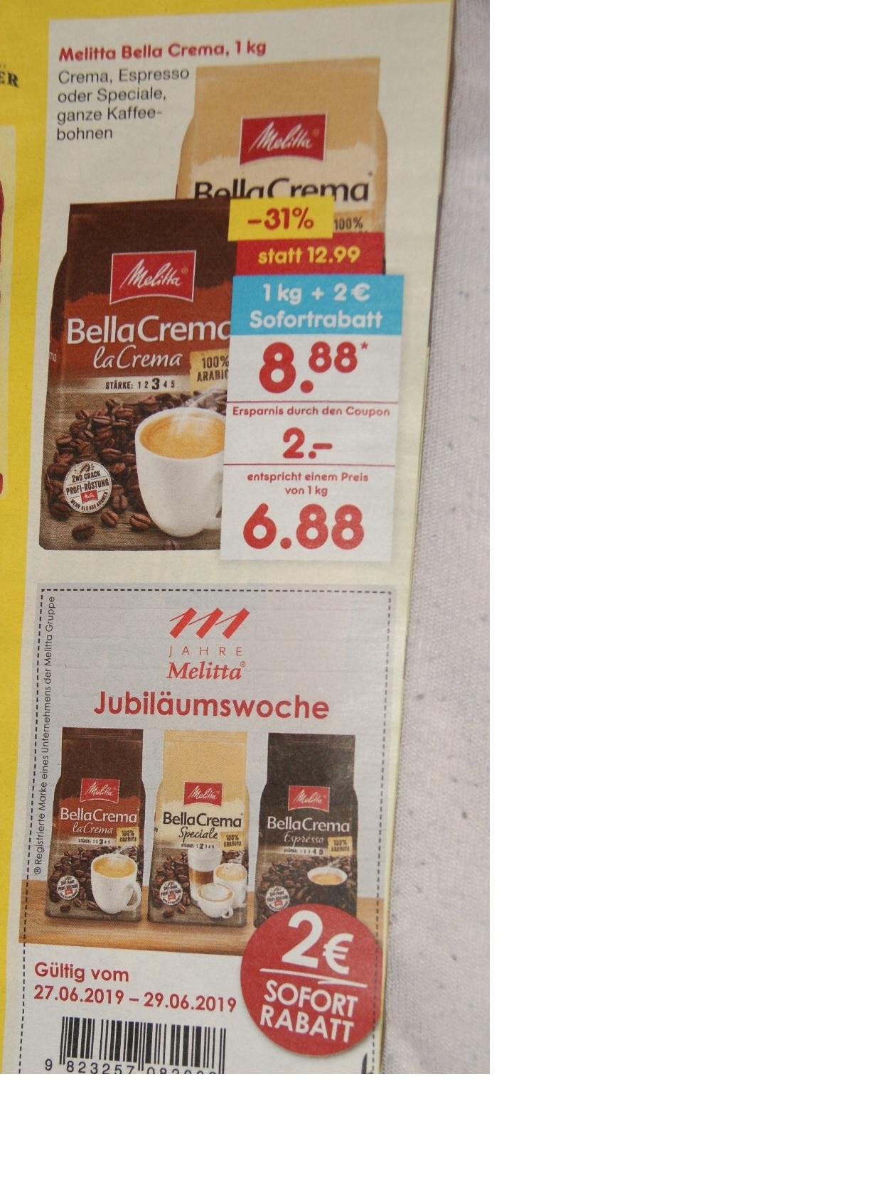 Melitta Kaffeebohnen für 6,88 Euro je kg bei netto (ohne Hund) ab 27.6. bundesweit
