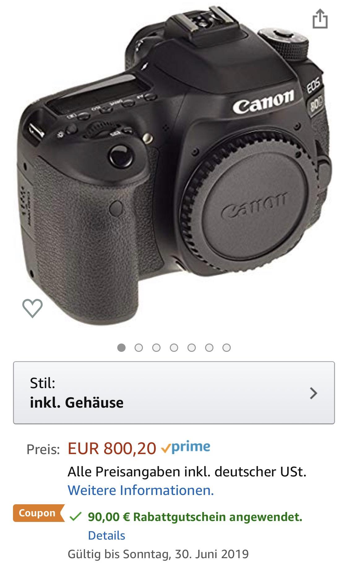 Canon EOS 80D Body Amazon.de nur 709€