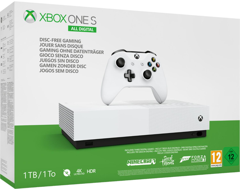 Microsoft Xbox One S 1TB All Digital Edition + Forza Horizon 3, Minecraft, Sea of Thieves Digital Code für 166,73€ (Amazon IT)