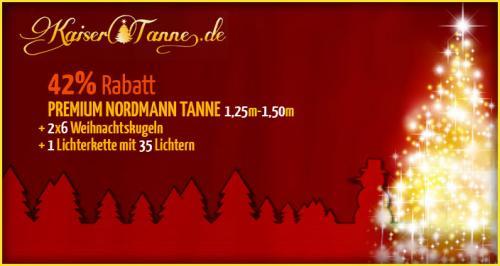 Weihnachtsbaum Komplettpaket: PREMIUM NORDMANN TANNE 1,25-1,50M + WEIHNACHTSKUGELN + LICHTERKETTE