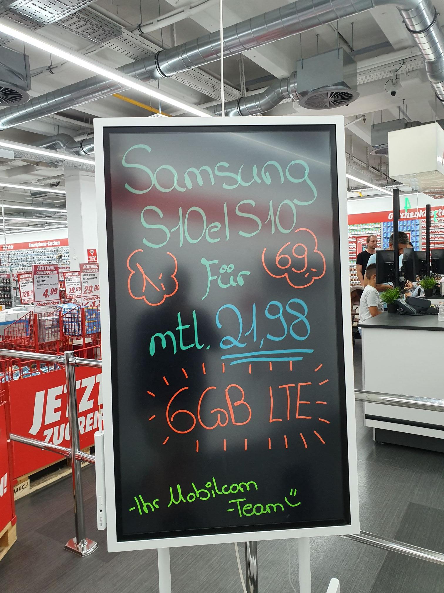[Lokal MM Reutlingen] Samsung Galaxy S10/S10e inkl. 6 GB-Flat für 594,36
