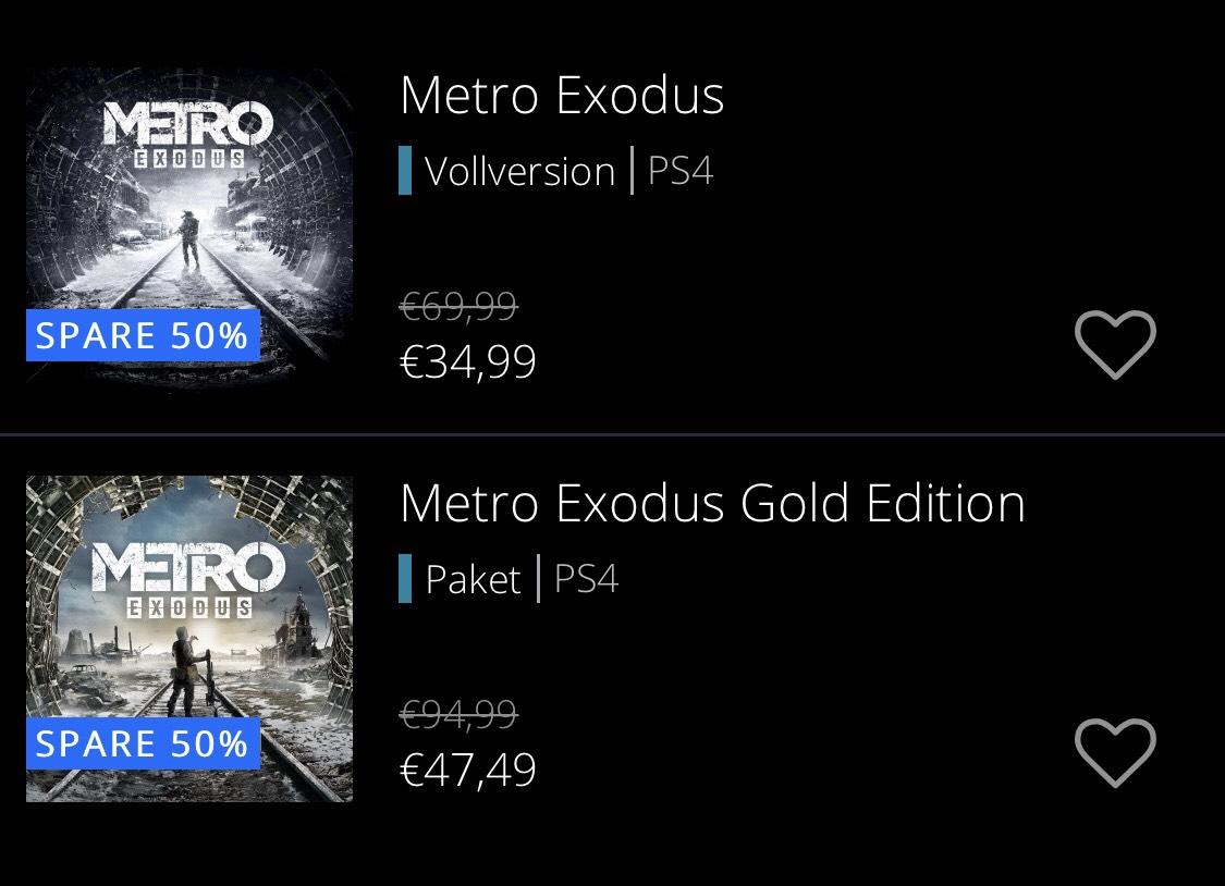 Metro Exodus [PS4] 69,99€ -> 34,99€ [PSN Store]