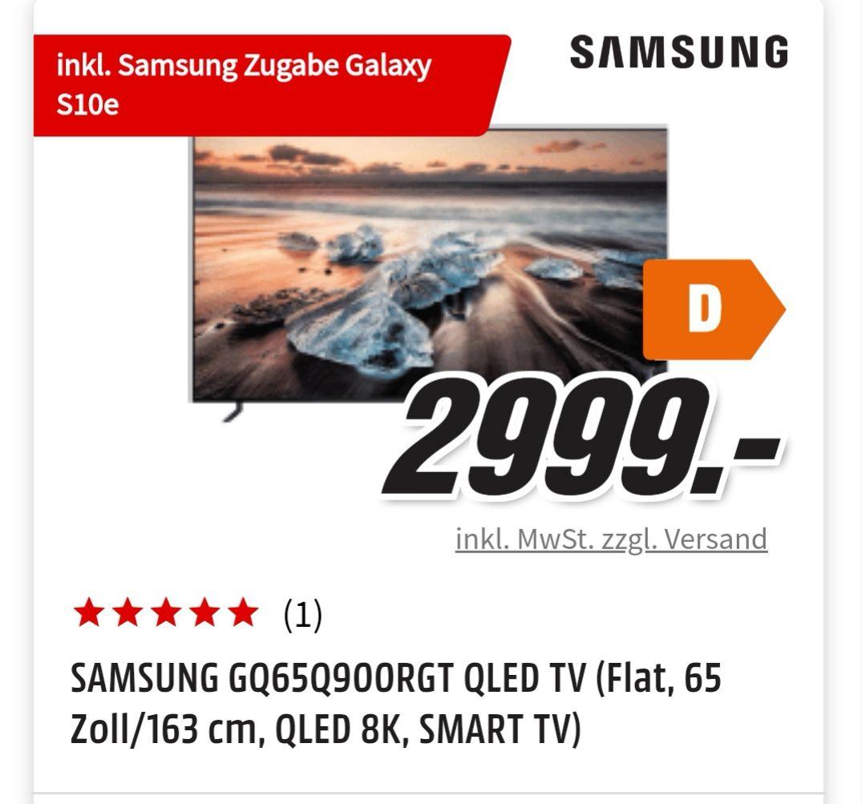 Samsung 65 Zoll 8K TV mit S10e als Zugabe