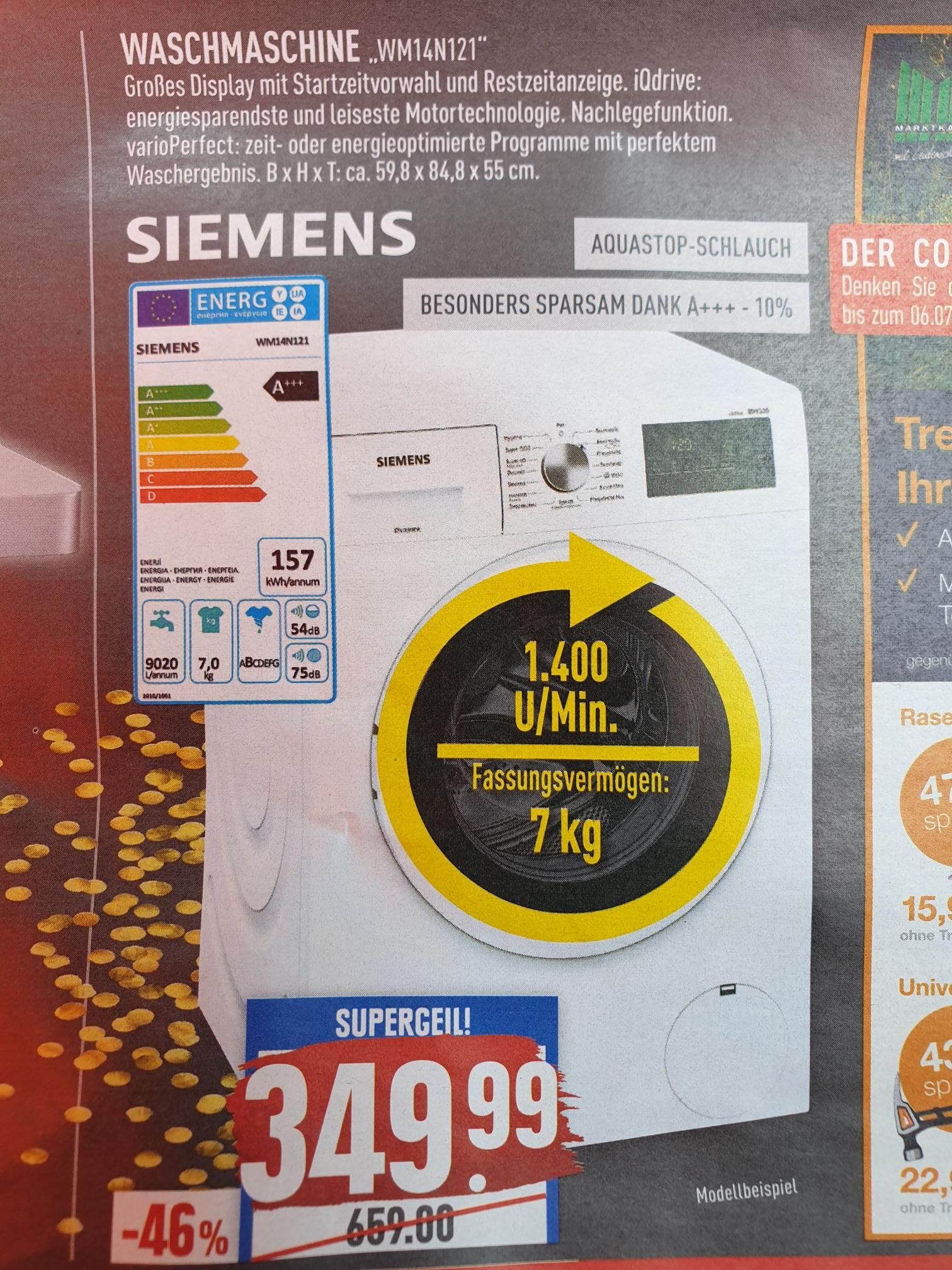 (Marktkauf Rhein-Ruhr) Siemens Waschmaschine WM14N121 mit iQdrive 349,99€ + Gasgrill Rösle Sansibar G3 Vario schwarz 299€