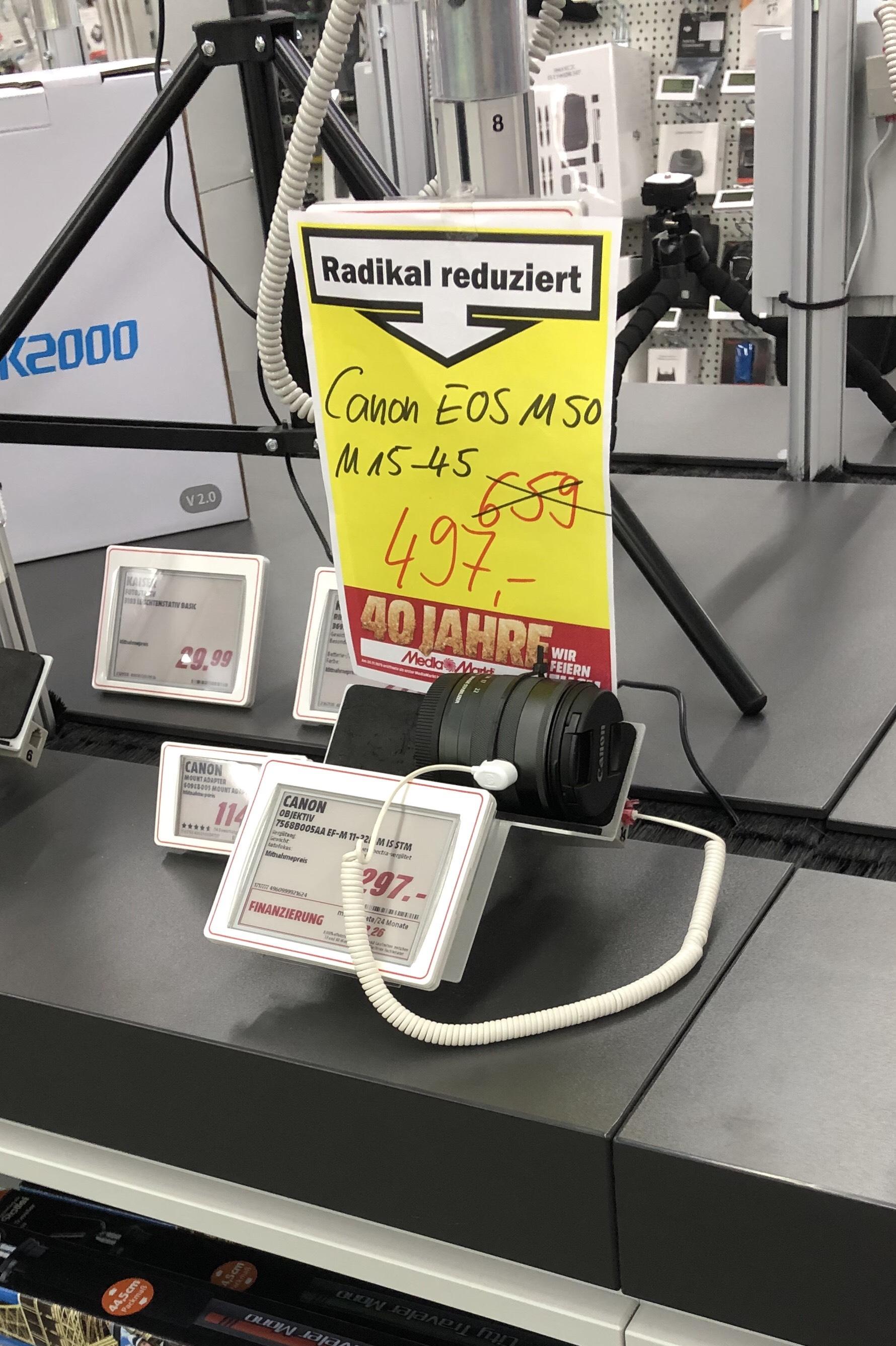 [Lokal Media Markt Stuhr] Canon EOS M50 mit Kit 15-45, Tasche und 16GB SD Karte für 417,63€