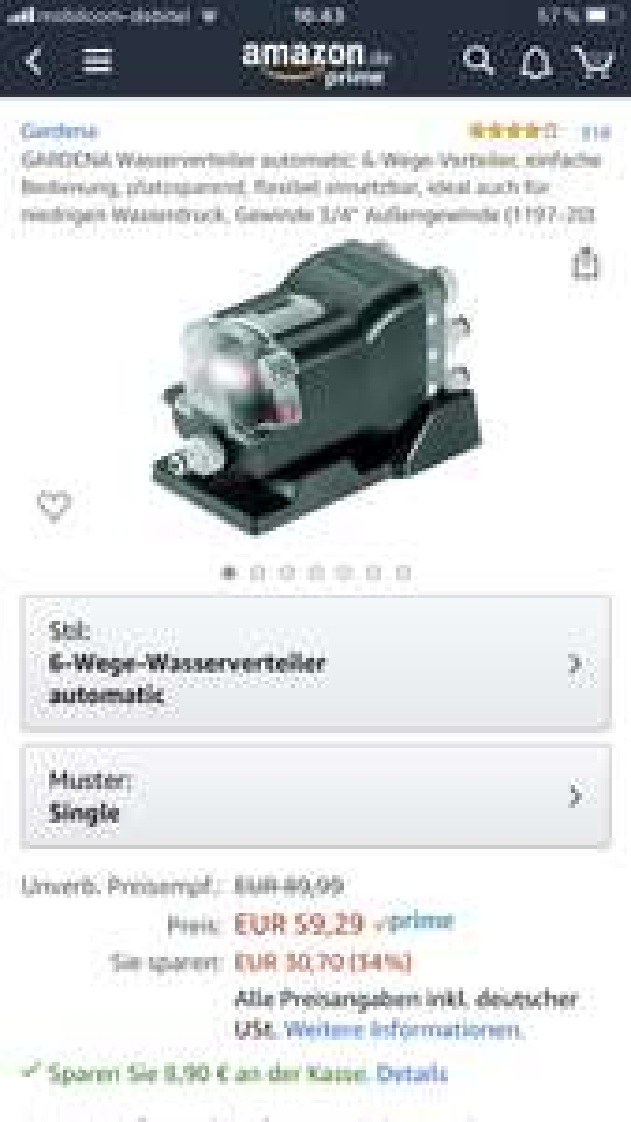 Gardena Automatik Wasserverteiler 1197-20 Amazon Prime