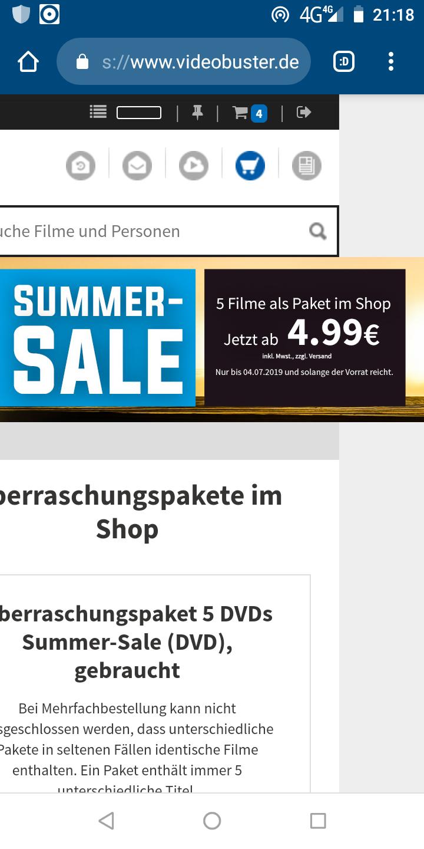 Videobuster Summer Sale - 5 DVDs 4,49 € , 5 Blurays 9,99 € plus 4,49 Versandkosten