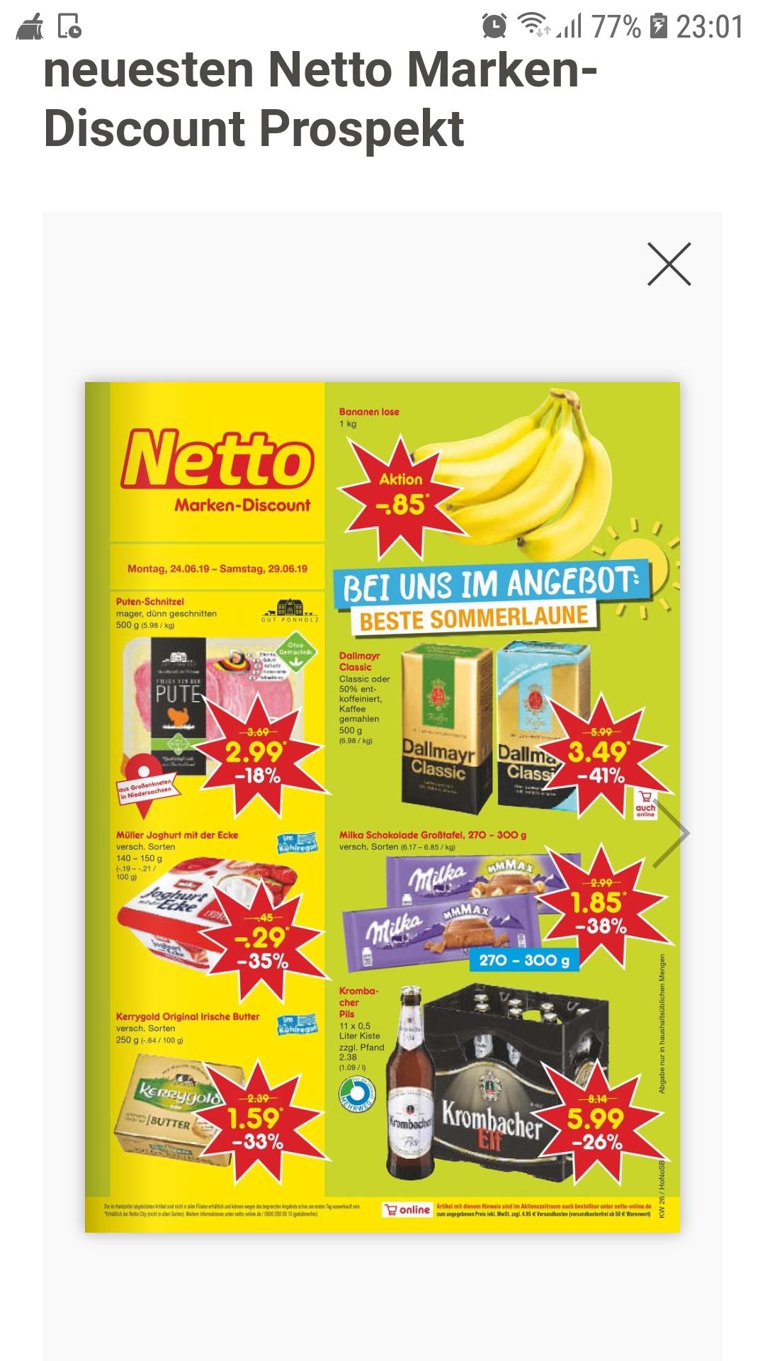 Milka Schokolade Großtafel, 270-300 g 1,85 € bei Netto