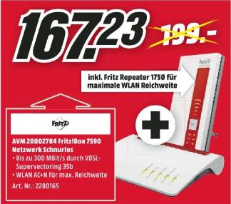 (Regional Mediamarkt Rostock-Brinckmannsdorf-Nur Sonntag) AVM FRITZ! Mesh Set FRITZ!Box 7590 + FRITZ!WLAN Repeater 1750E für 167,23€