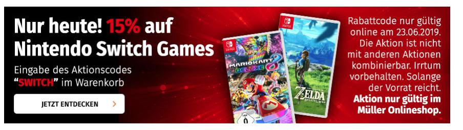 15% auf alle Switch Games (Müller)