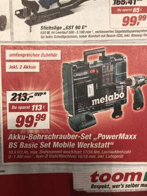 [Toom Offline] Metabo PowerMaxx BS Basic Set (inkl. 2 Akkus)