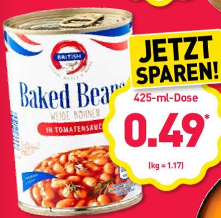 Baked Beans (Gebackene Bohnen in Tomatensauce, 420g) für 49 Cent bei Aldi Nord