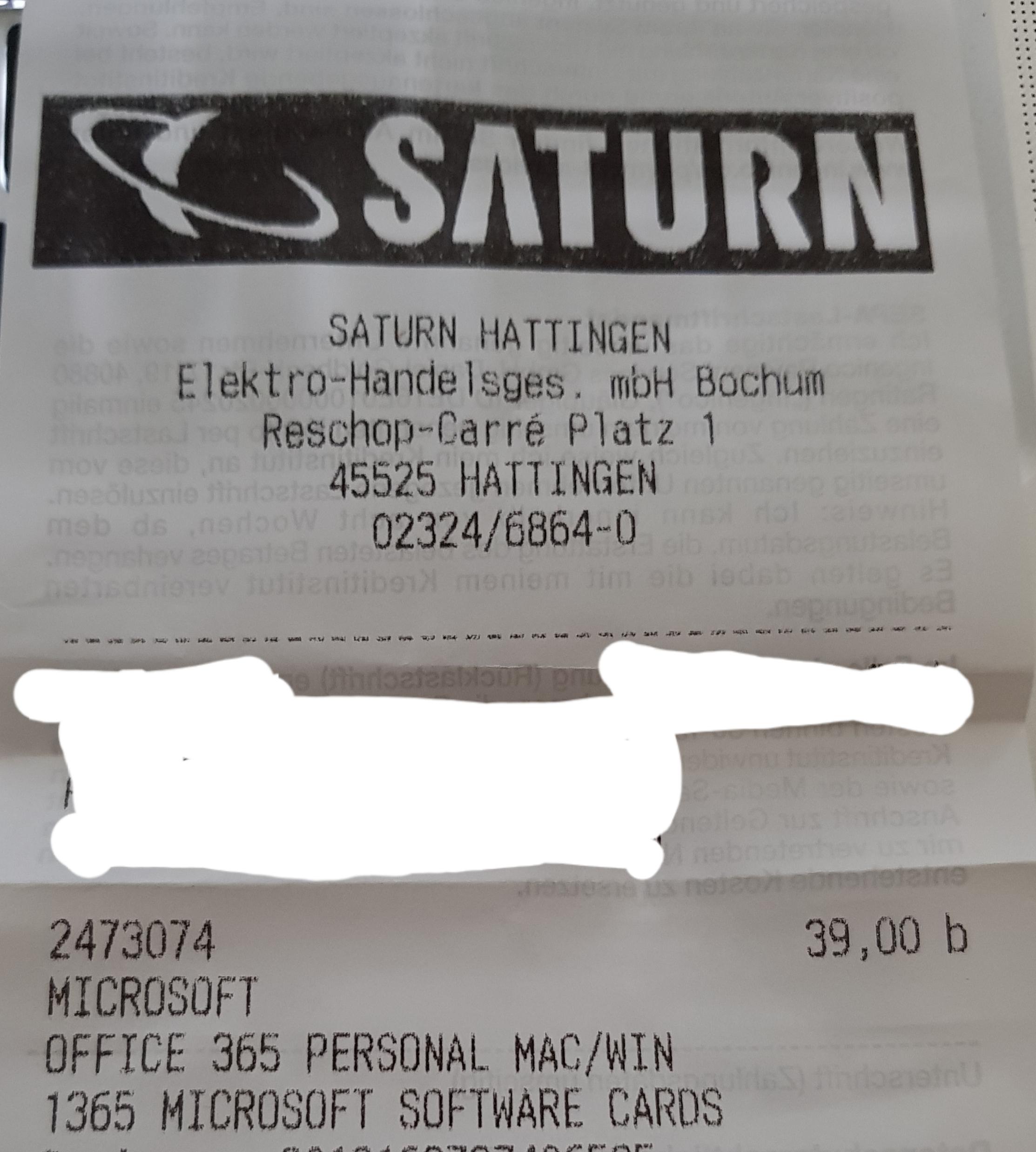 Saturn / Microsoft Office 365 Personal : Euro 39,- (nur lokal Hattingen/Bochum?)