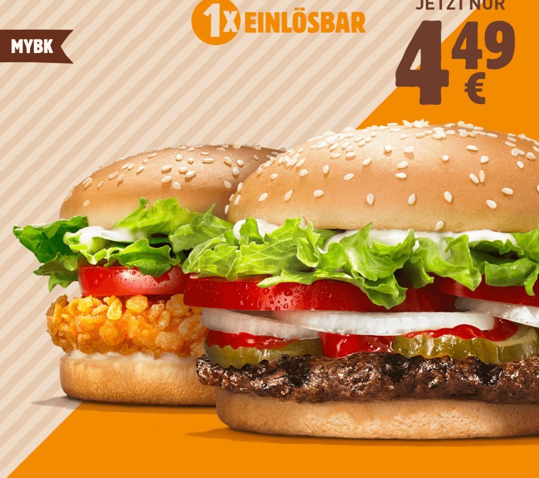 MAHLZEIT: Crispy Chicken + Whopper für 4,49€ o. Whopper Jr für 1,49€ o. 2x Chili Cheese Burger + mittlere Pommes für 2,99€ [Burger King App]