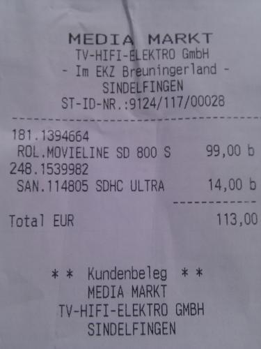 Rollei Movieline SD-800 P (Camcorder mit Projektor) im Media Markt Sindelfingen
