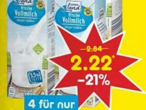 [Netto] 4 × 1L Milch 3,5% Fett (56 Cent/Liter)