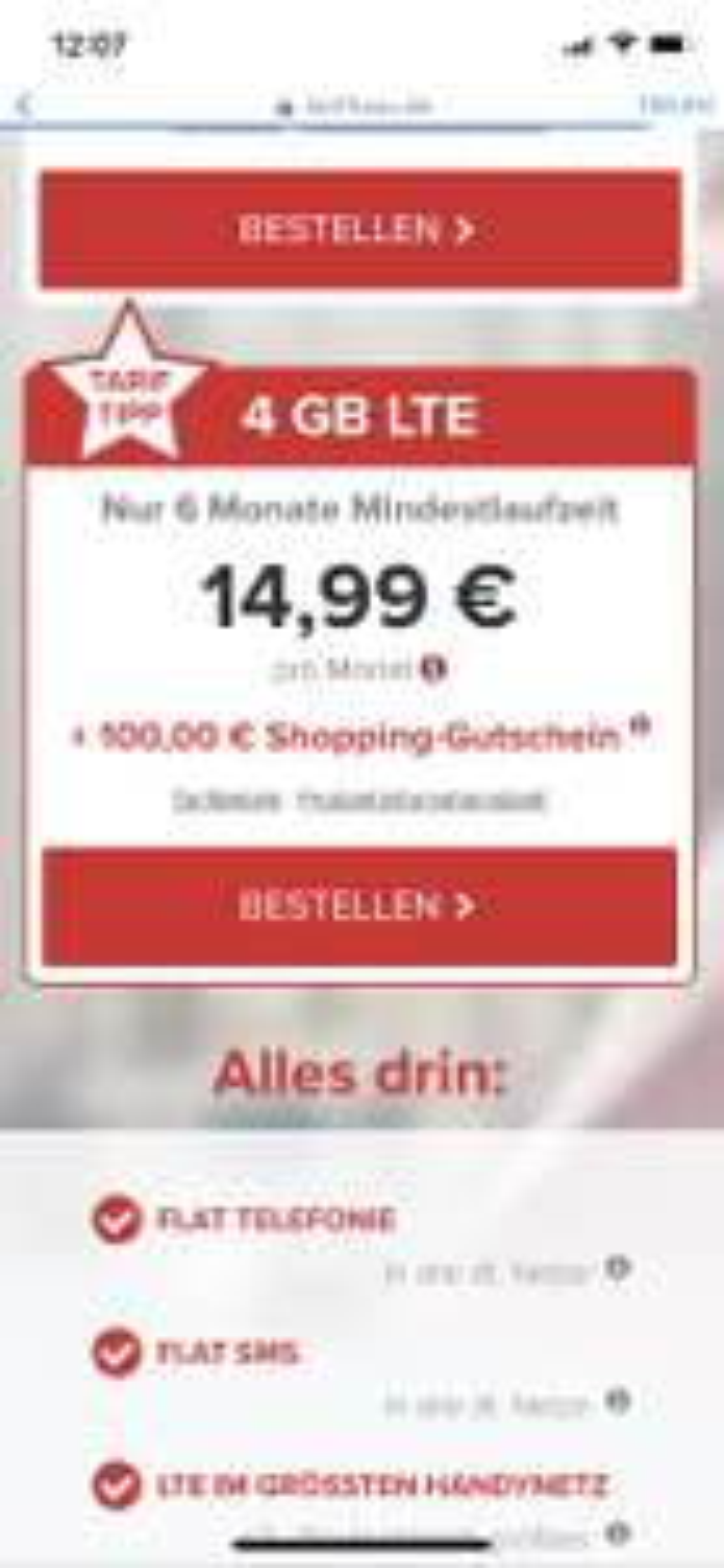 4 GB LTE Tarif für mtl. 14,99 Euro + 100 Euro Shopping Gutschein ( 6 Monate MVLZ,  02 Netz, 100 Frei Minuten ins Eu-Ausland)
